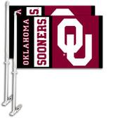 Oklahoma Sooners Car Flag w/Wall Bracket Set Of 2