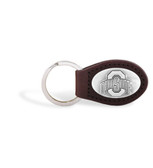 Ohio State Buckeyes Brown Leather Key Chain