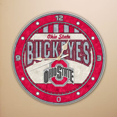 "Ohio State Buckeyes 12"" Art Glass Clock"