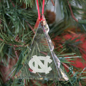 North Carolina Tar Heels Tree Shaped Crystal Christmas Ornament