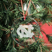 North Carolina Tar Heels Round Crystal Christmas Ornament