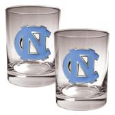 North Carolina Tar Heels 2pc Rocks Glass Set