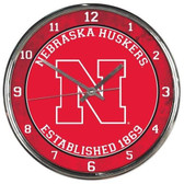 Nebraska Huskers Round Chrome Wall Clock