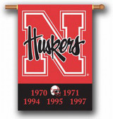 "Nebraska Huskers Double-Sided 28""x40"" Banner - Champion Years"
