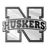 Nebraska Cornhuskers Silver Auto Emblem