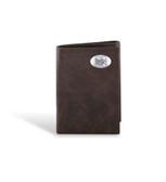 Nebraska Cornhuskers Leather Wrinkle Brown Trifold Wallet