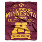 "Minnesota Golden Gophers 50""x60"" Royal Plush Raschel Throw Blanket -  Label Design"