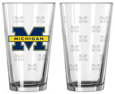 Michigan Wolverines Satin Etch Pint Glass Set