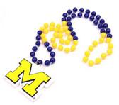 Michigan Wolverines Mardi Gras Beads with Medallion