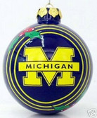 Michigan Wolverines Glass Ball Ornament