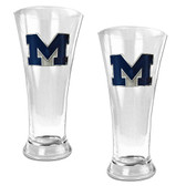 Michigan Wolverines 2pc Premiere Pilsner Glass Set