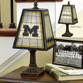 "Michigan Wolverines 14"" Art Glass Table Lamp"