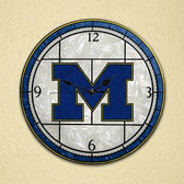 "Michigan Wolverines 12"" Art Glass Clock"