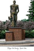 Michigan State University: Spartan Statue Lithograph