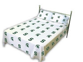 Michigan State Spartans White Sheet Set (King)