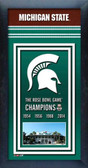 Michigan State Spartans Rose Bowl Champions Framed Championship Banner