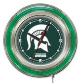 Michigan State Spartans Neon Clock