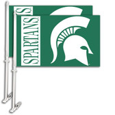 Michigan State Spartans Car Flag w/Wall Bracket Set Of 2