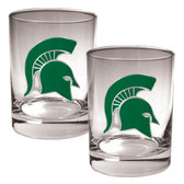 Michigan State Spartans 2pc Rocks Glass Set