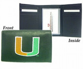 Miami Hurricanes Embroidered Leather Tri-Fold Wallet