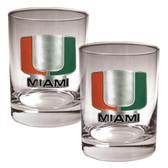Miami Hurricanes 2pc Rocks Glass Set