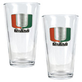 Miami Hurricanes 2pc Pint Ale Glass Set
