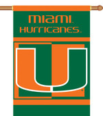 "Miami Hurricanes 2-Sided 28"" x 40"" Banner w/ Pole Sleeve"