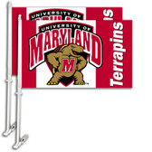 Maryland Terrapins Car Flag w/Wall Bracket Set Of 2