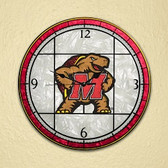 "Maryland Terrapins 12"" Art Glass Clock"