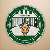 "Marshall Thundering Herd 12"" Art Glass Clock"