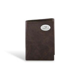 LSU Tigers Leather Wrinkle Brown Trifold Wallet