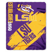 LSU Tigers 50x60 Fleece Blanket - College Painted Design