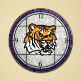 "LSU Tigers 12"" Art Glass Clock"