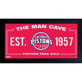 Detroit Pistons Man Cave Sign 10x20 Framed Photo