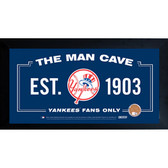 New York Yankees Man Cave Sign With Authentic Game-Used Dirt Framed 10x20 (MLB Authenticated)