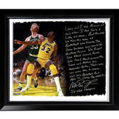 Los Angeles Lakers Magic Johnson Facsimile 'My Friend Larry Bird' Story Stretched Framed 22x26 Story Canvas