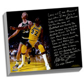 Los Angeles Lakers Magic Johnson Facsimile My Friend Larry Bird Story Stretched  16x20 Story Canvas