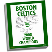 Boston Celtics Paul Pierce Facsimile 2008 Champions Banner Story Stretched  16x20 Story Canvas