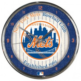 New York Mets Round Chrome Wall Clock