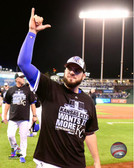 Kansas City Royals Mike Moustakas celebrates winning Game 5 of the 2015 American League Division Series 40x50 Stretched Canvas