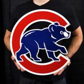 "Chicago Cubs 20"" Walking Bear Lasercut Steel Logo Sign"