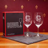 Cornell University Set of 2 Riedel 9 OZ White Wine Glasses