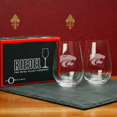 Kansas State Wildcats  Set of 2 Riedel 13 OZ Stemless Red Wine Glasses