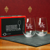 Kentucky  Wildcats  Set of 2 Riedel 13 OZ Stemless Red Wine Glasses