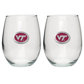 Virginia Tech Hokies Stemless Wine Glass (Set of 2) # 2