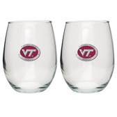 Virginia Tech Hokies Stemless Wine Glass (Set of 2) # 2