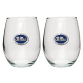 Ole Miss Rebels Stemless Wine Glass (Set of 2)