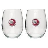 Oklahoma Sooners Helmet Logo Stemless Wine Glass (Set of 2)
