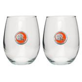 Virginia Cavaliers Helmet Logo Stemless Wine Glass (Set of 2)