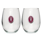 Arizona State Sun Devils Helmet Logo Stemless Wine Glass (Set of 2)